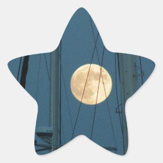 Full Moon Over A Marina Star Sticker