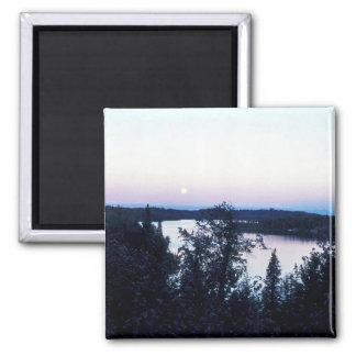 Full Moon over Nikiski Lake Fridge Magnets