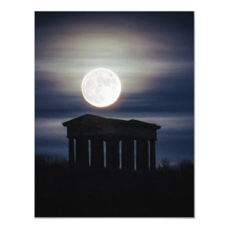 "Full Moon over Penshaw Monument Invitation 4.25"" X 5.5"" Invitation Card"