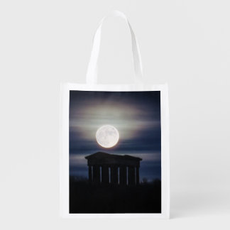 Full Moon over Penshaw Monument Reusable Bag Reusable Grocery Bags
