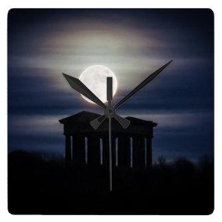 Full Moon over Penshaw Monument Wall Clock