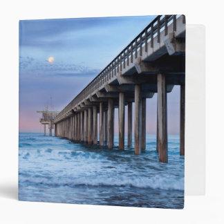 Full moon over pier, California 3 Ring Binder