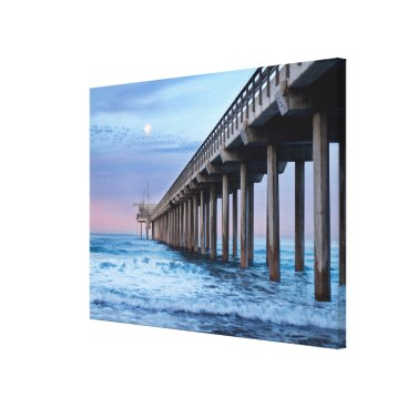 Beach Themed Full moon over pier, California Canvas Print