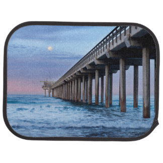 Full moon over pier, California Car Mat