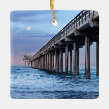 Beach Themed Full moon over pier, California Ceramic Ornament