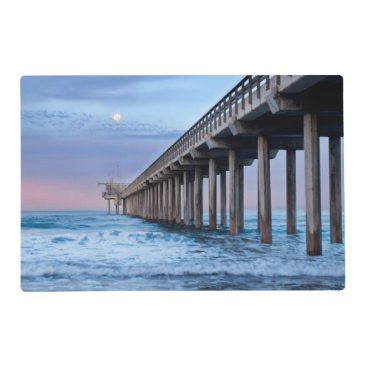 Beach Themed Full moon over pier, California Placemat