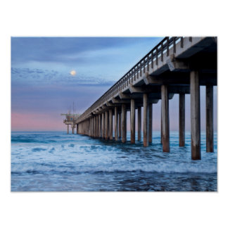 Full moon over pier, California Poster