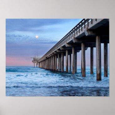 Beach Themed Full moon over pier, California Poster