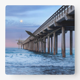 Full moon over pier, California Square Wall Clock