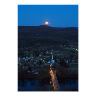 Full Moon over Sunderland and Connecticut River Posters