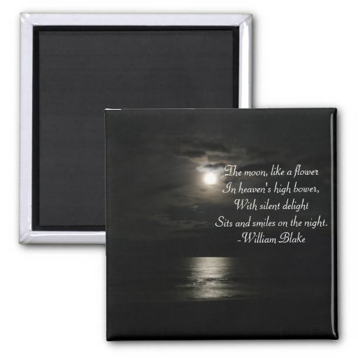Full Moon over the water at night-with poetry Magnets