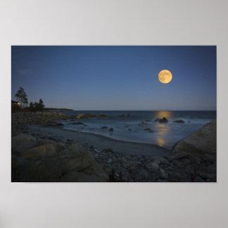 Full Moon Over White Point Poster