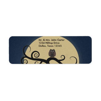 Full Moon Owl Blue Address Labels