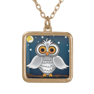 Full Moon Owl Gold Plated Necklace