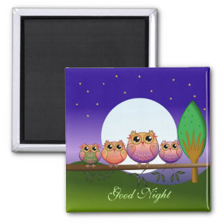 Full Moon Owls & good night text magnet