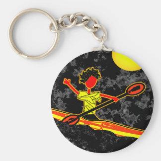 Full Moon Paddler Kayaking Canoeing Basic Round Button Keychain