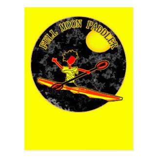 Full Moon Paddler Kayaking Canoeing Postcard