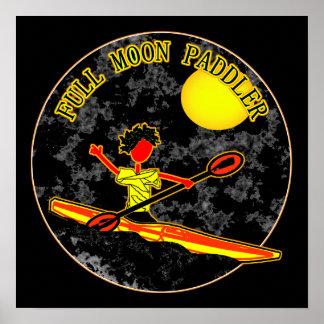 Full Moon Paddler Kayaking Canoeing Poster
