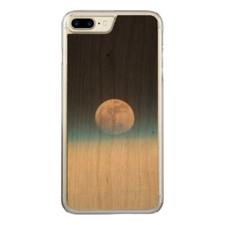 Full moon partially obscured by atmosphere carved iPhone 7 plus case