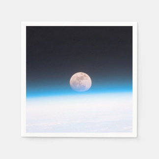 Full moon partially obscured by atmosphere napkin