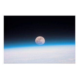 Full moon partially obscured by atmosphere poster