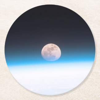 Full moon partially obscured by atmosphere round paper coaster
