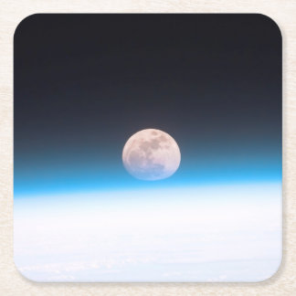 Full moon partially obscured by atmosphere square paper coaster