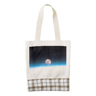Full moon partially obscured by atmosphere zazzle HEART tote bag