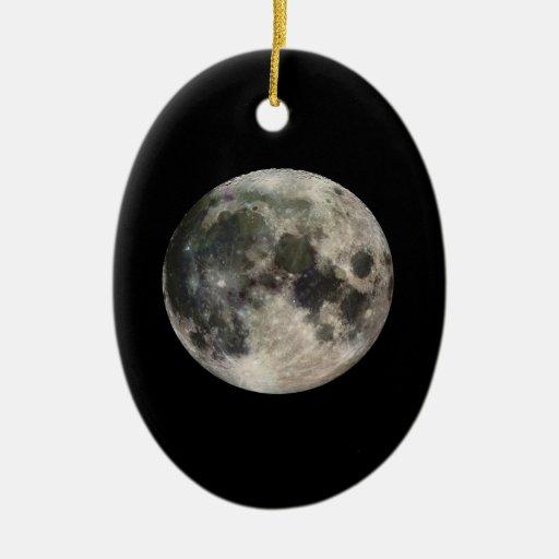 Full Moon Photograph Galileo Double-Sided Oval Ceramic Christmas Ornament