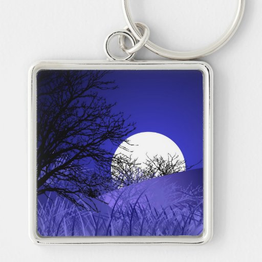 Full Moon Premium Key Ring Silver-Colored Square Keychain