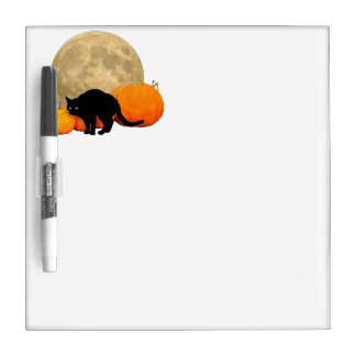 Full Moon, Pumpkins and Black Cat Dry-Erase Board