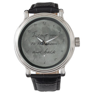 Full Moon Quote Love You Much Stars Wrist Watch