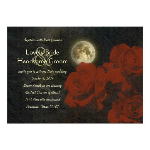 Full Moon Red Ghost Roses Wedding Invitation