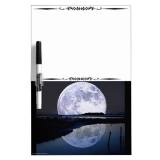 Full Moon Rise Over Water Decorative Whiteboard