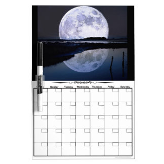 Full Moon Rise Over Water DryEraseBoard Calendar
