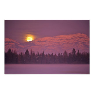 Full moon rises over Teakettle Mountain during Photo Print