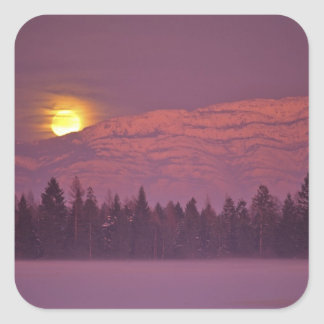 Full moon rises over Teakettle Mountain during Square Sticker