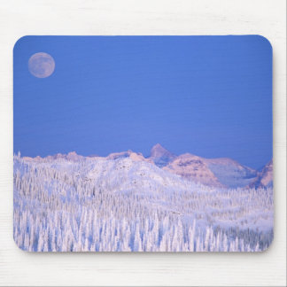Full moon rising above Glacier National Park Mouse Pad