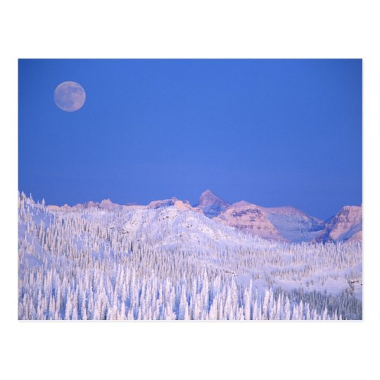 Full moon rising above Glacier National Park Postcard