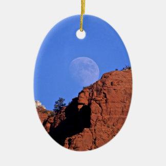 full moon rising ceramic ornament
