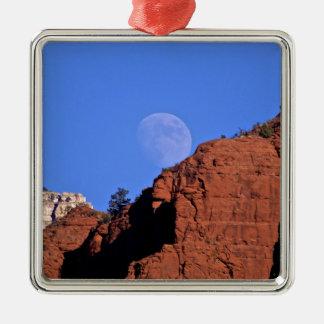full moon rising metal ornament