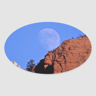 full moon rising oval sticker