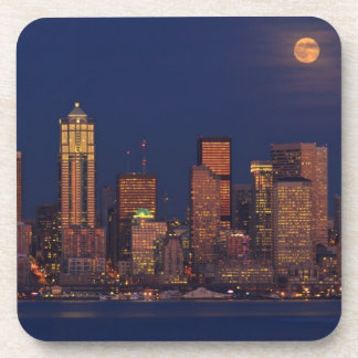 Full moon rising over downtown Seattle skyline Drink Coaster