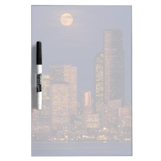 Full moon rising over downtown Seattle skyline Dry Erase Boards
