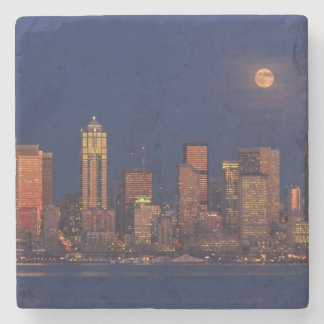 Full moon rising over downtown Seattle skyline Stone Coaster
