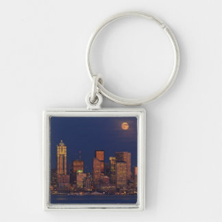 Full moon rising over downtown Seattle skyline Keychain