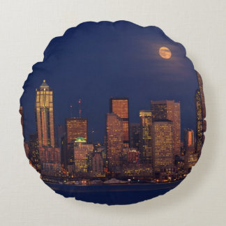 Full moon rising over downtown Seattle skyline Round Pillow