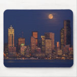 Full moon rising over downtown Seattle skyline Mouse Pad