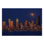 Full moon rising over downtown Seattle skyline Poster