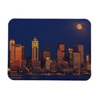 Full moon rising over downtown Seattle skyline Rectangular Photo Magnet